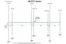JK1217jr - Yagi antenna of 3 elements for the 17 m band and 4 elements for 12 m band