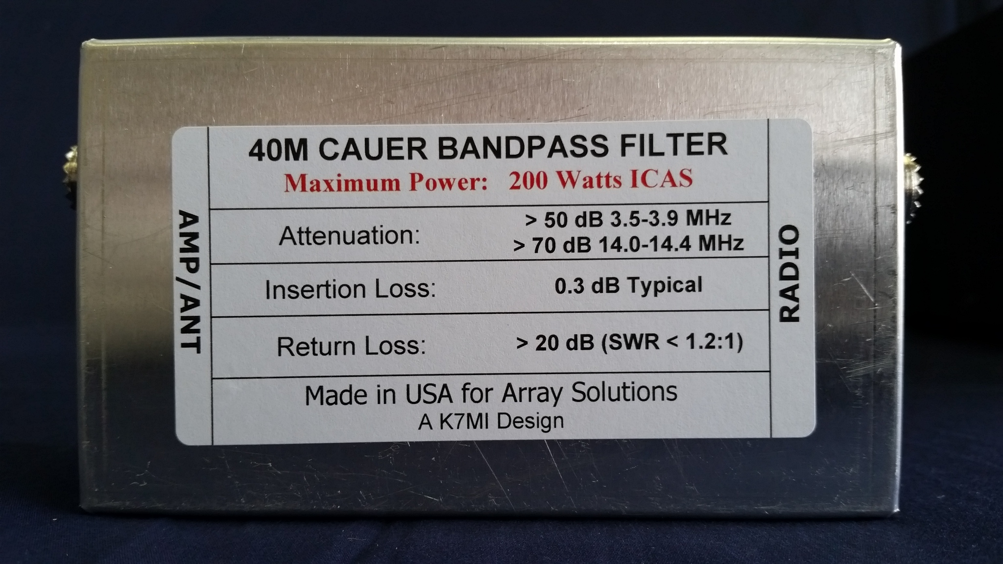 W3nqn Design Mono Band Cauer Elliptical Filter The 40 Meters By Wiring Diagram K7mi